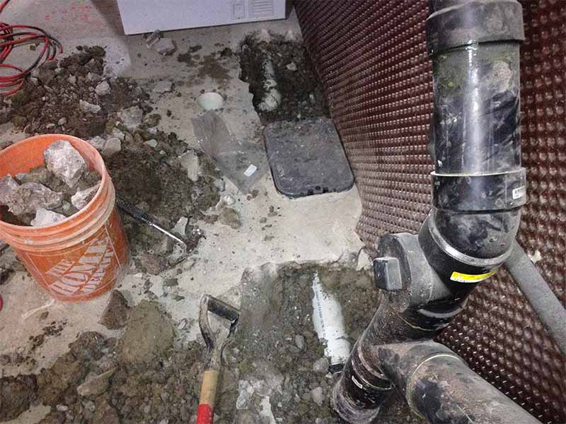 interior water drainage installation and repair