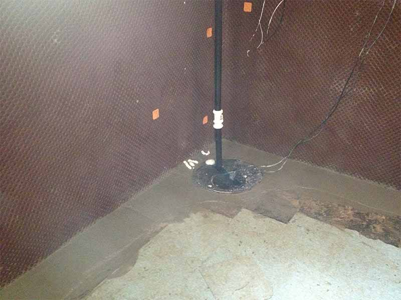 interior weeping tile installation and sump pump installation