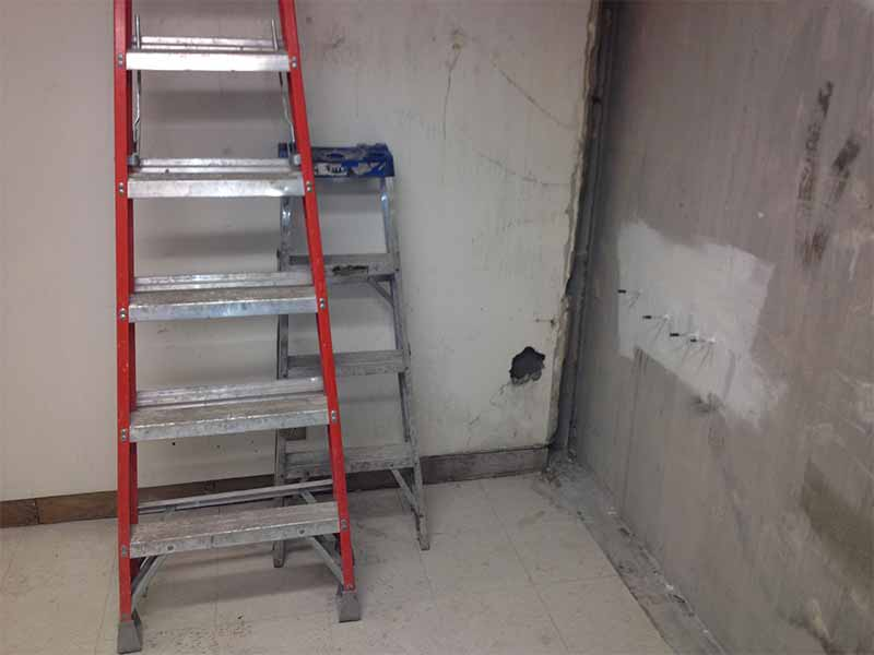 William Osler Hospital foundation leak repair